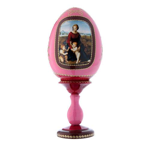 Oeuf en bois rouge russe style Fabergé La Madone à la prairie h tot 20 cm 1