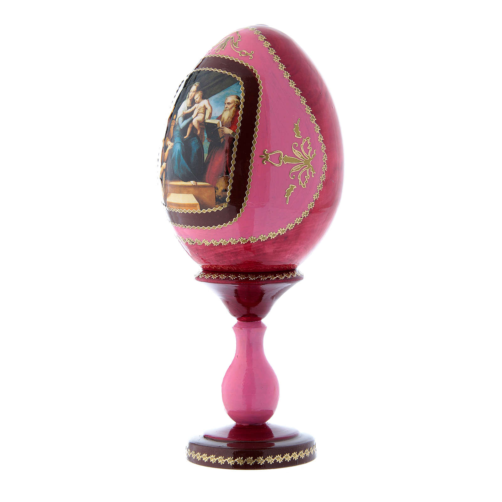 Uovo in legno La Madonna del Pesce russo découpage rosso h tot 20 cm 4