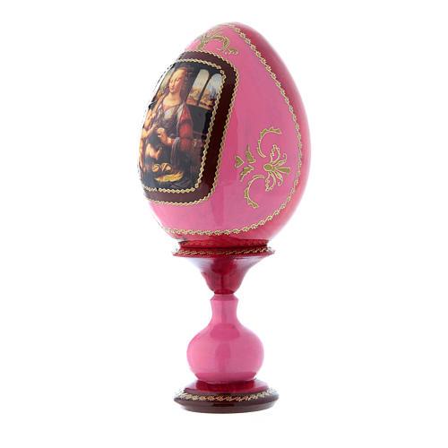 Uovo rosso icona russa La Madonna col Bambino découpage h tot 20 cm 2