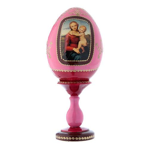Uovo in legno russo decorato a mano La Piccola Madonna Cowper rosso h tot 20 cm 1