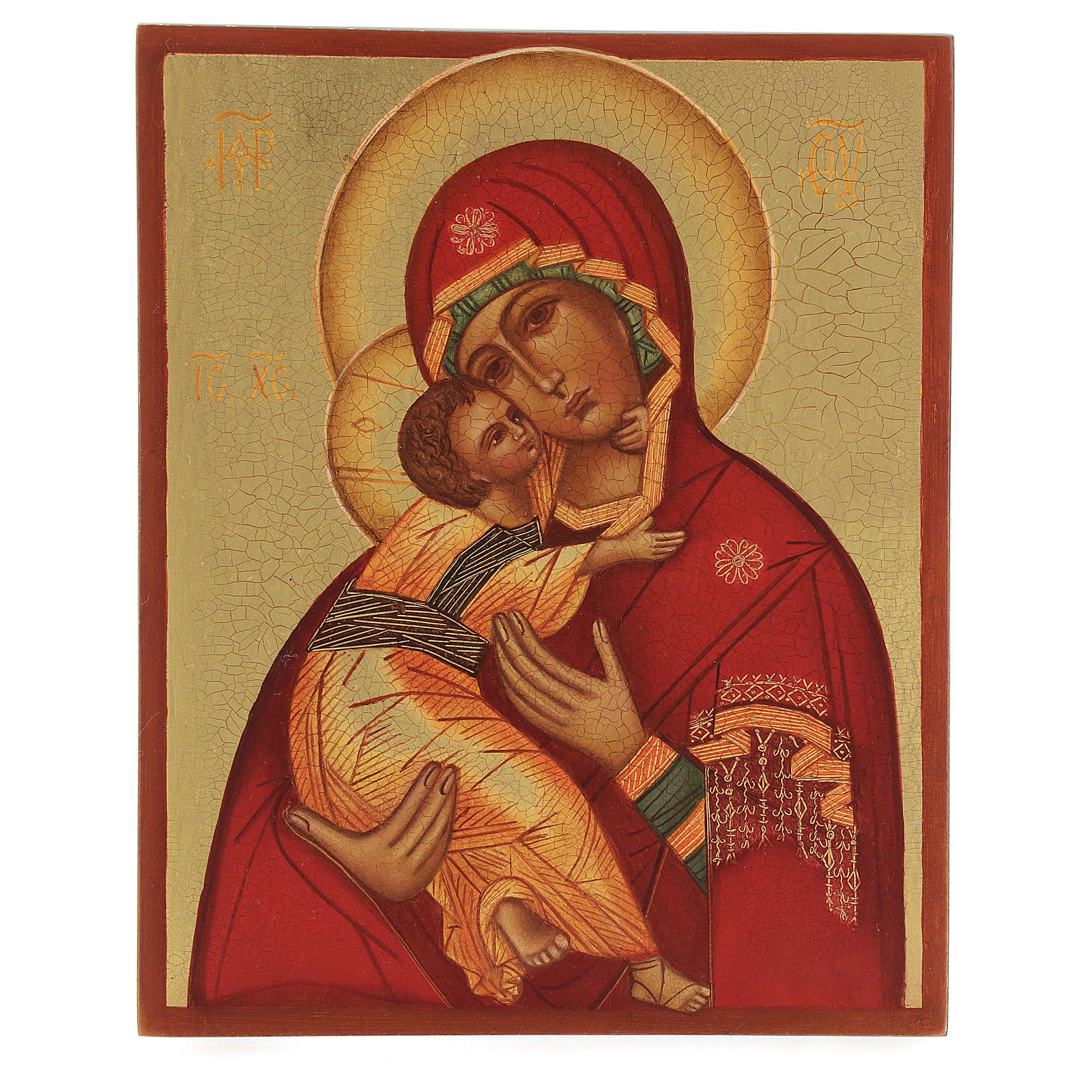 Russian painted icon Our Lady of Vladimir 14x10 4