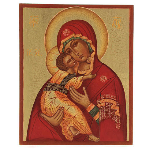 Russian painted icon Our Lady of Vladimir 14x10 1