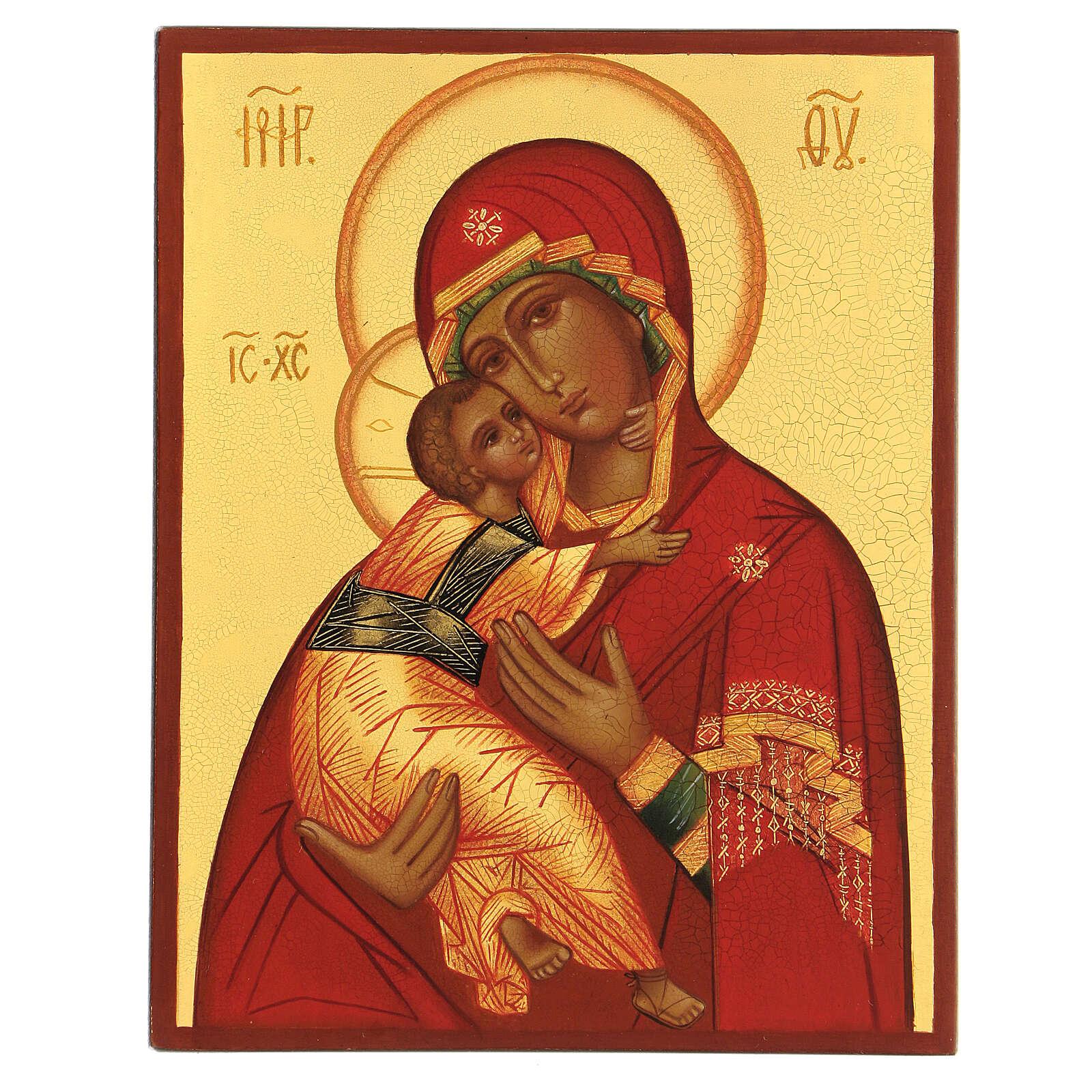 Icône russe peinte Vierge Vladimirskaya 14x10 4