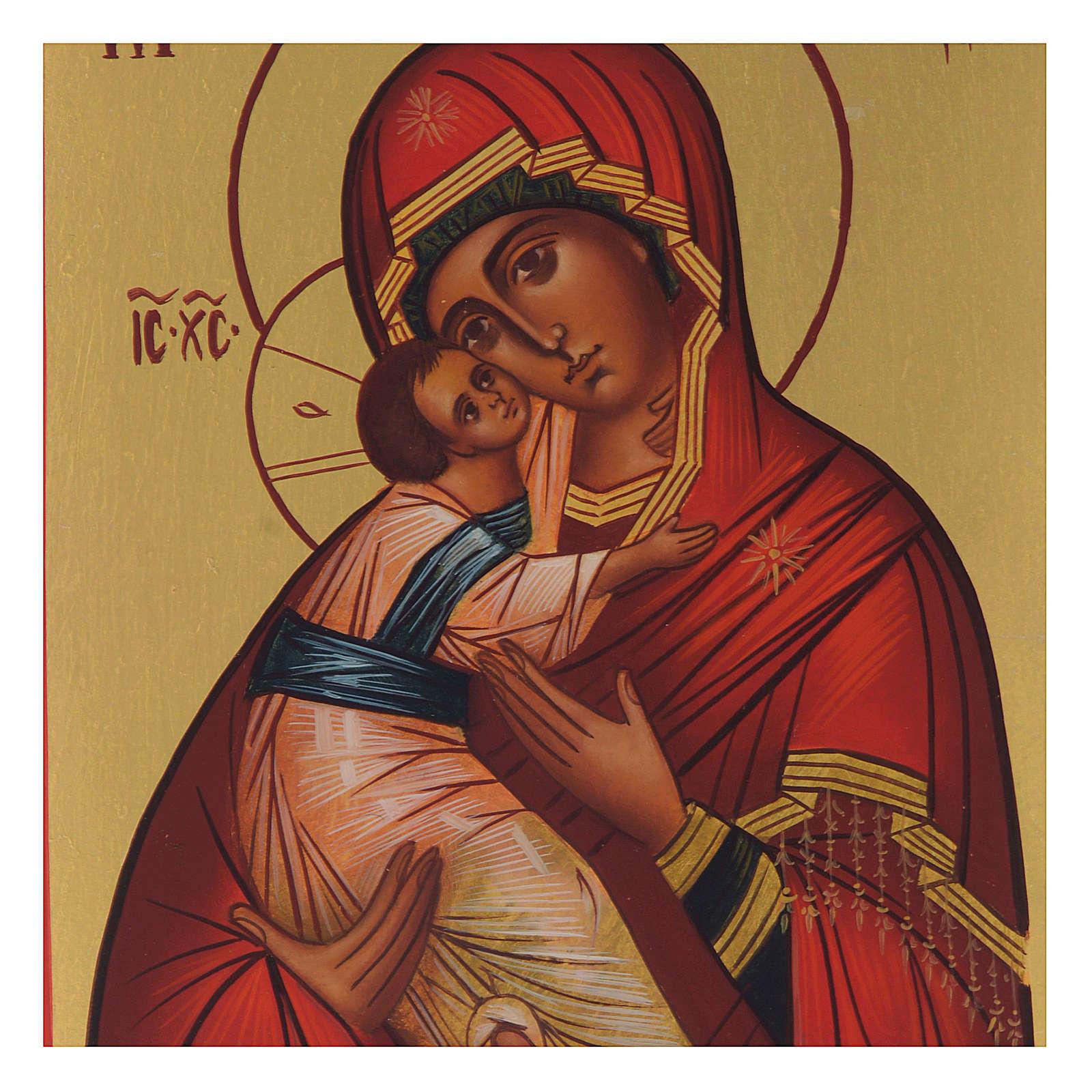 Icona russa dipinta Madonna di Vladimir 13x10 4