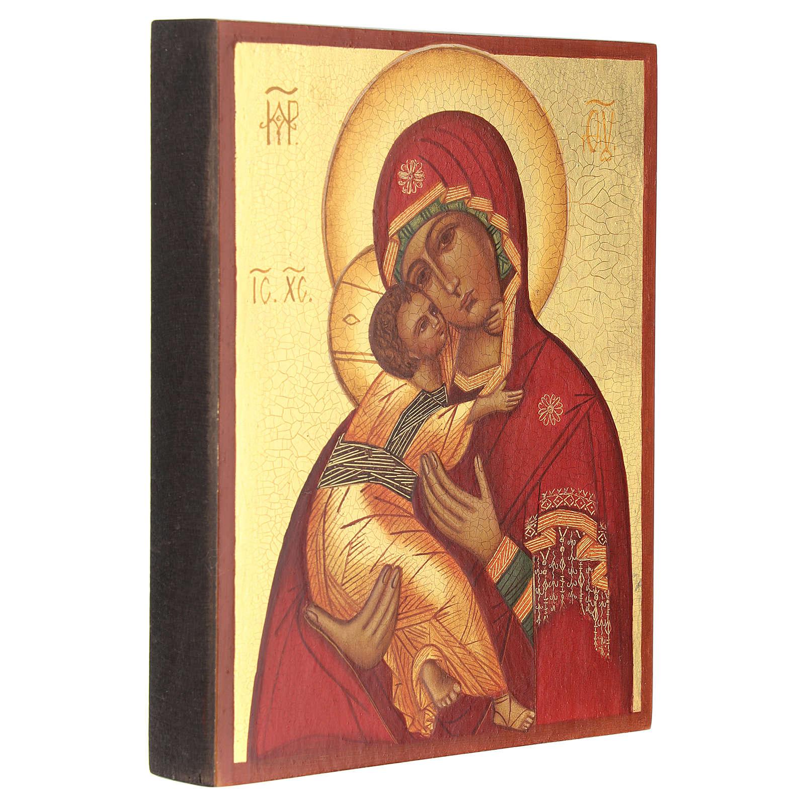 Icona russa dipinta Madonna di Vladimir 14x10 4