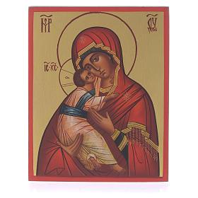 Icona russa dipinta Madonna di Vladimir 13x10 s1