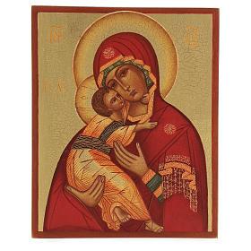 Icona russa dipinta Madonna di Vladimir 14x10 s1