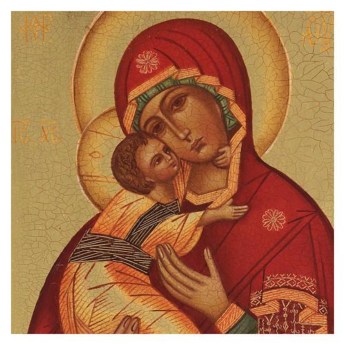 Icona russa dipinta Madonna di Vladimir 14x10 2