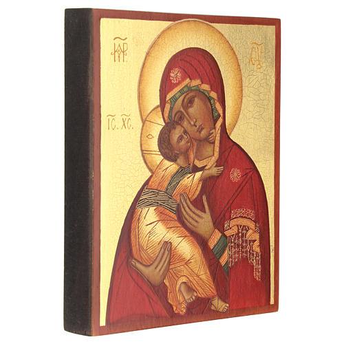 Icona russa dipinta Madonna di Vladimir 14x10 3
