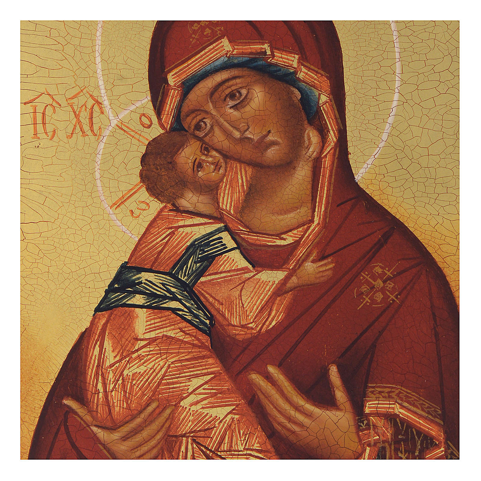 Russian painted icon Our Lady of Vladimir 13x10 4