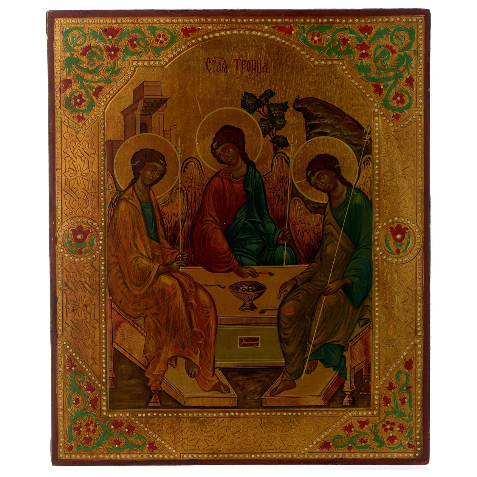 Icono ruso Trinidad de Rublev 30 x 25 cm mitad siglo XX 4