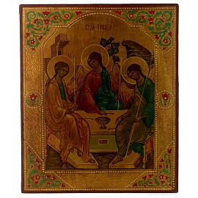 Icono ruso Trinidad de Rublev 30 x 25 cm mitad siglo XX s1