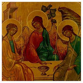 Icono ruso Trinidad de Rublev 30 x 25 cm mitad siglo XX s2