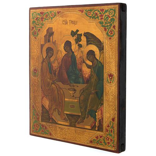 Icono ruso Trinidad de Rublev 30 x 25 cm mitad siglo XX 3
