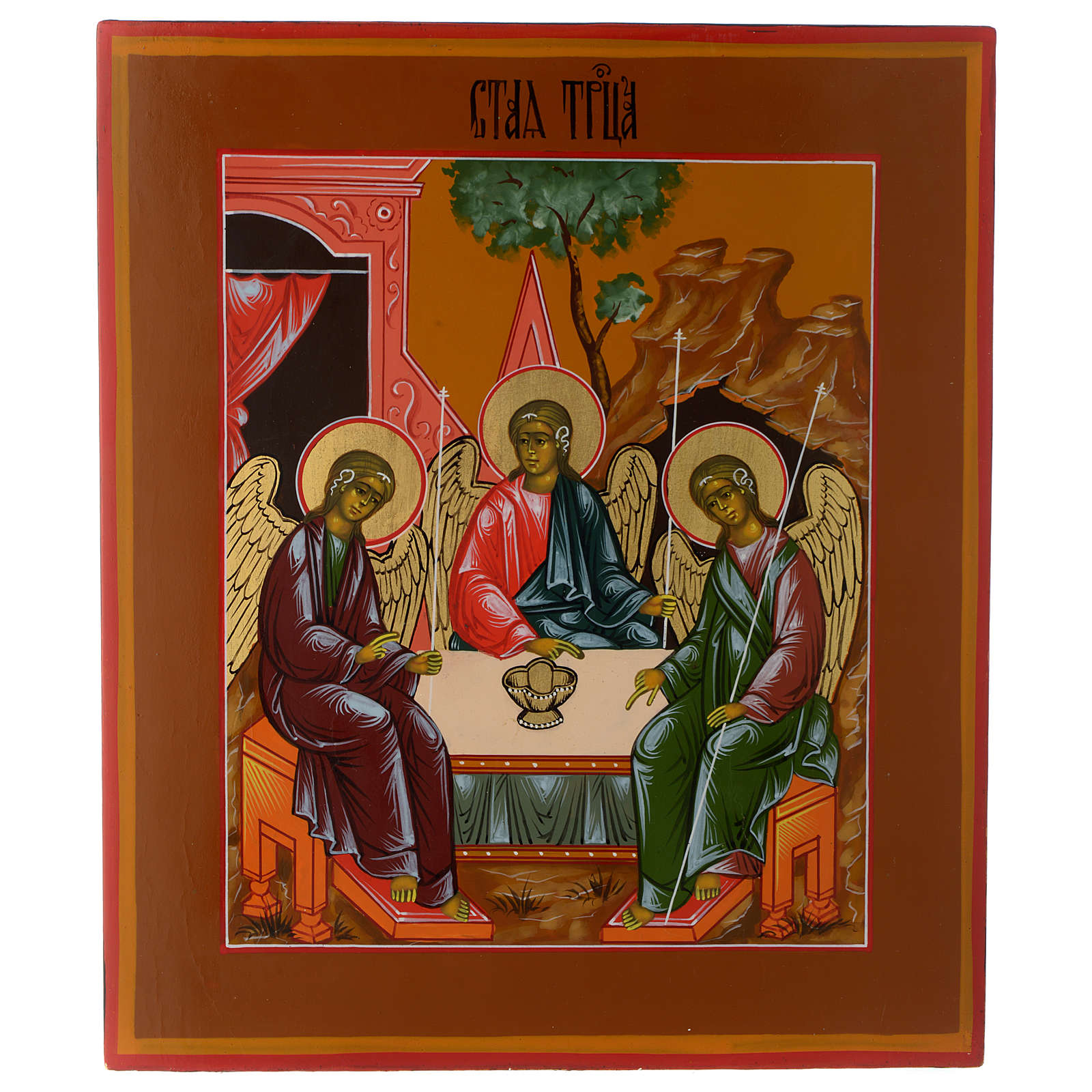 Icône russe Trinité de Roublev 30x25 cm fin XX siècle 4