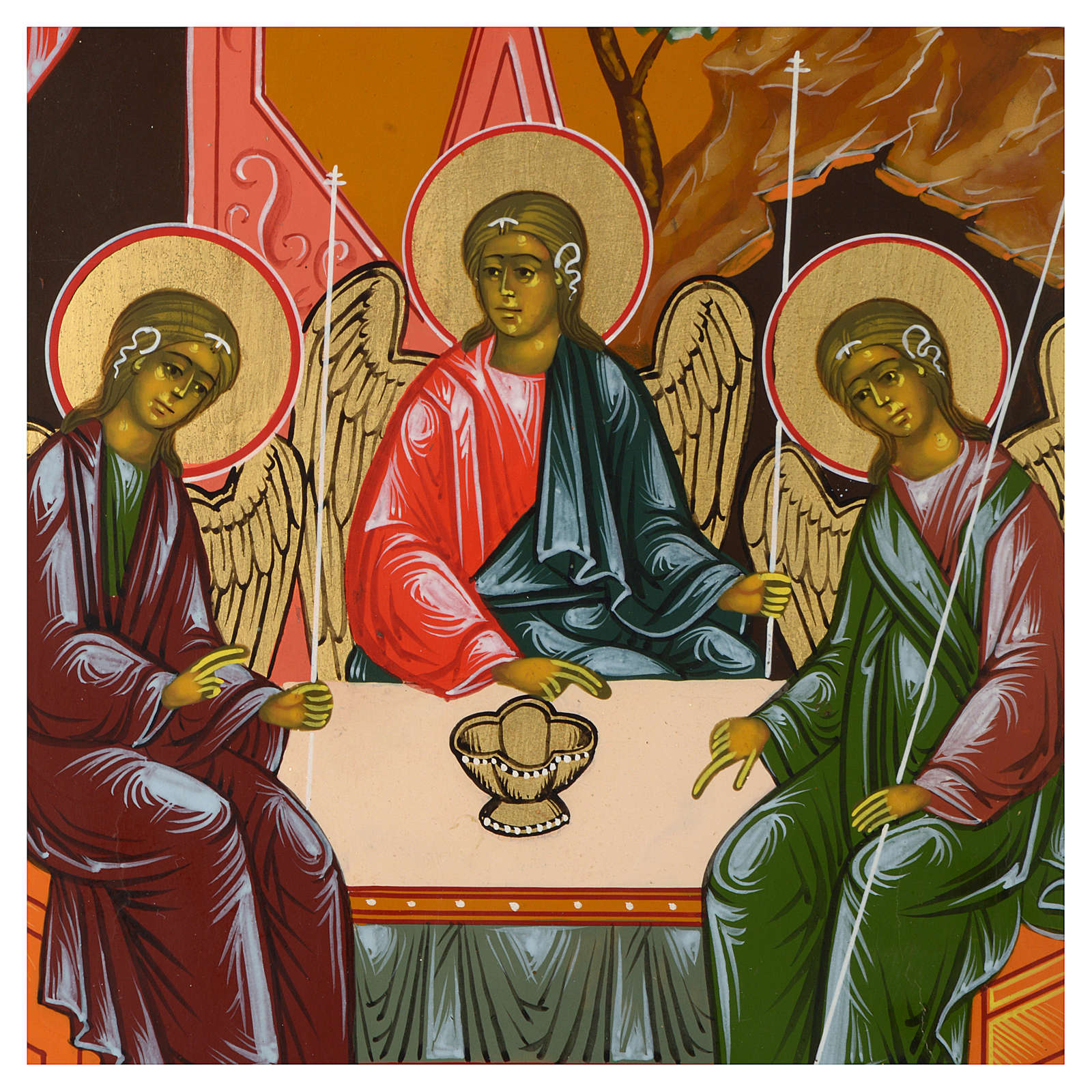 Icona russa Trinità di Rublev 30x25 cm fine XX secolo 4