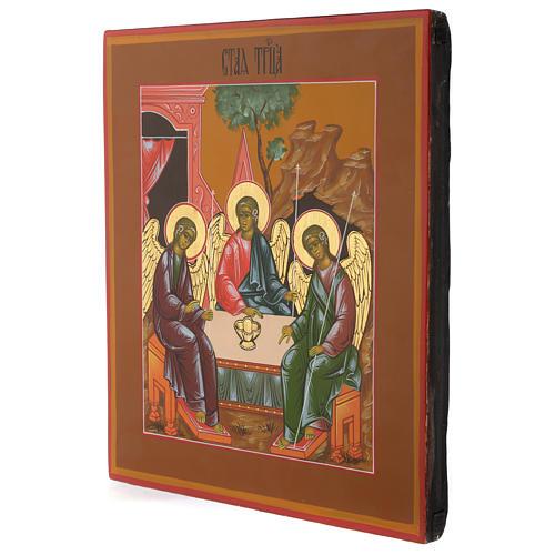 Icona russa Trinità di Rublev 30x25 cm fine XX secolo 3