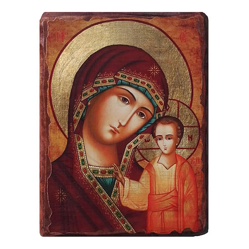 Icona russa dipinta découpage Madonna di Kazan 30x20 cm 1