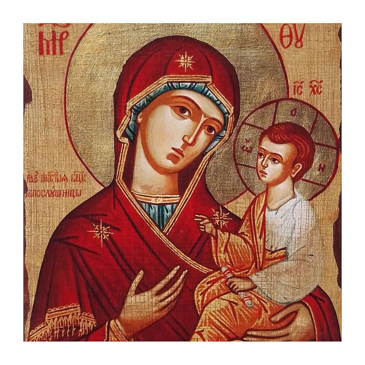 Icona russa dipinta découpage Panagia Gorgoepikoos 30x20 cm 4