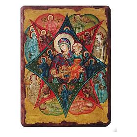 Ícone Rússia pintado decoupáge Nossa Senhora da Sarça-Ardente 30x20 cm s1