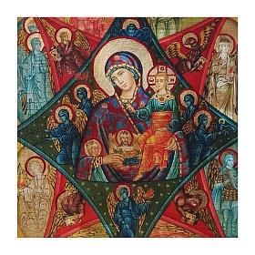 Ícone Rússia pintado decoupáge Nossa Senhora da Sarça-Ardente 30x20 cm s2