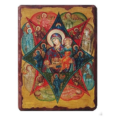 Ícone Rússia pintado decoupáge Nossa Senhora da Sarça-Ardente 30x20 cm 1