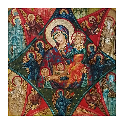 Ícone Rússia pintado decoupáge Nossa Senhora da Sarça-Ardente 30x20 cm 2