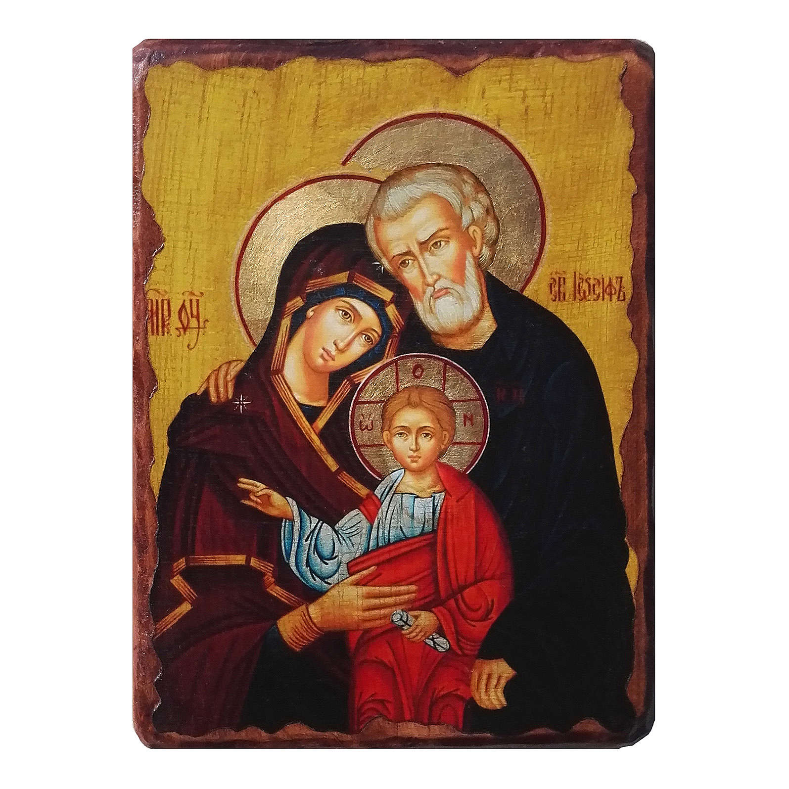 Russian icon Holy Family, painted and decoupaged 30x20 cm 4