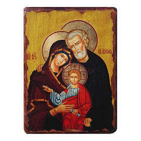 Russian icon Holy Family, painted and decoupaged 30x20 cm s1