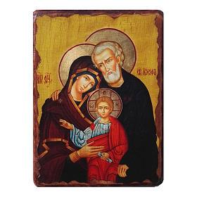 Icono ruso pintado decoupage Sagrada Familia 30x20 cm s1