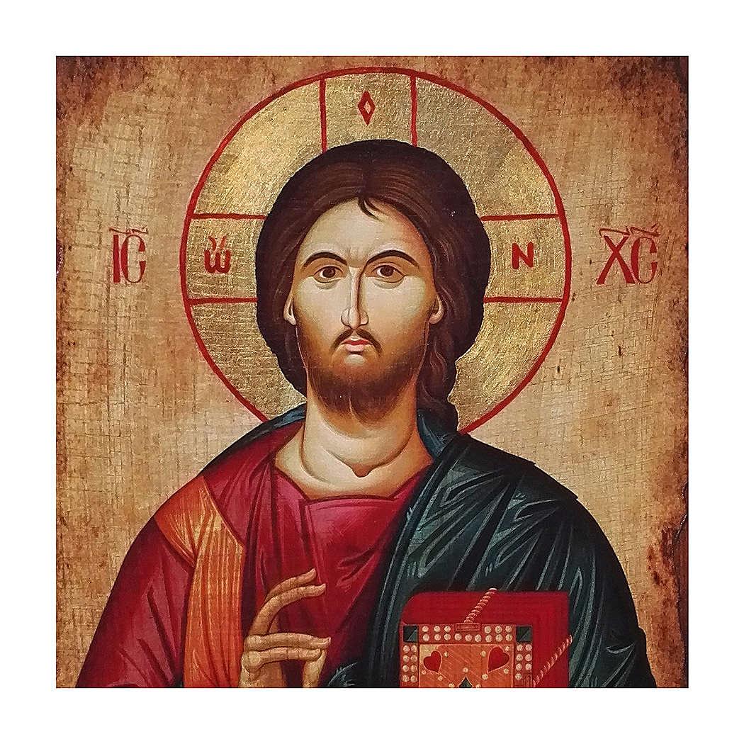Ícone russo pintado decoupáge Cristo Pantocrator 30x20 cm 4