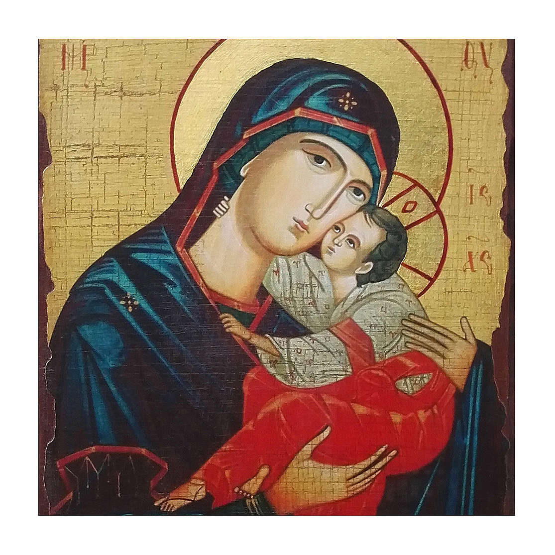 Russian icon Sweet Kissing Madonna, painted and decoupaged 30x20 cm 4