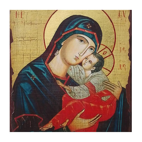 Russian icon Sweet Kissing Madonna, painted and decoupaged 30x20 cm 2