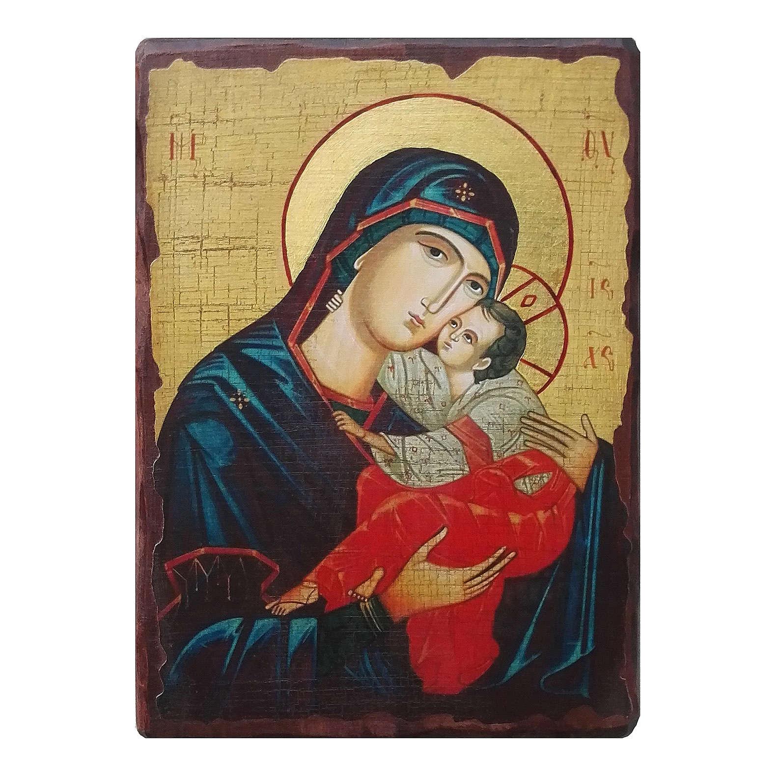 Icona russa dipinta découpage Madonna del bacio dolce 30x20 cm 4