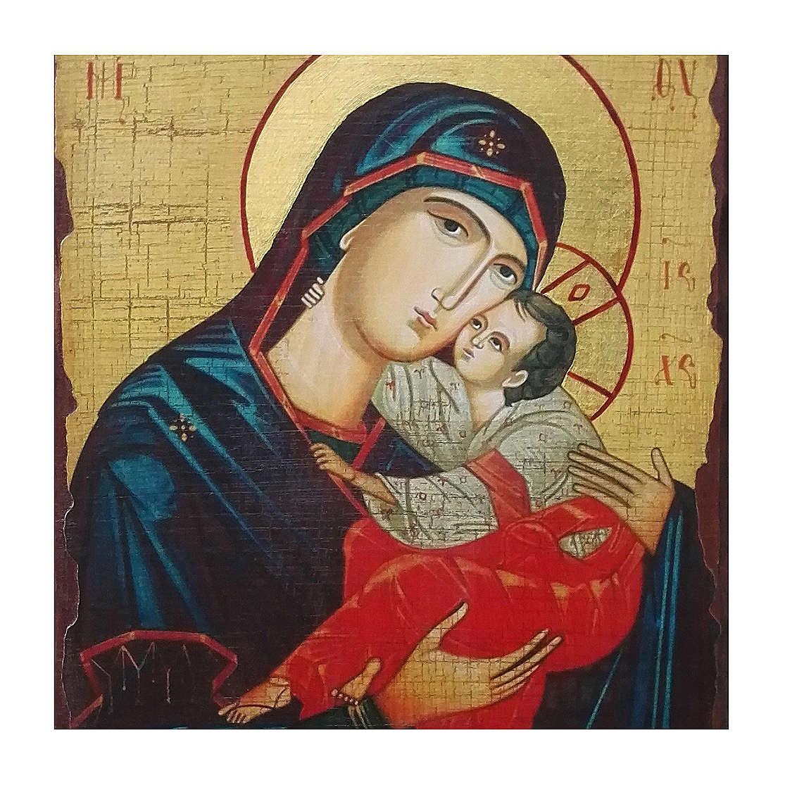 Ícone russo pintado decoupáge Nossa Senhora do Doce beijo 30x20 cm 4