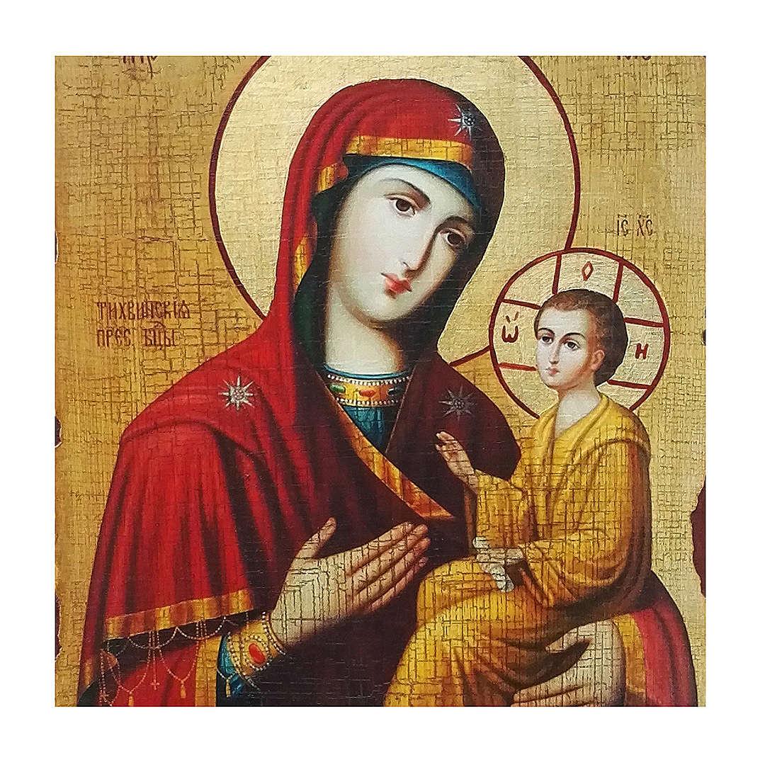 Icona russa dipinta découpage Madonna Tikhvinskaya 30x20 cm 4