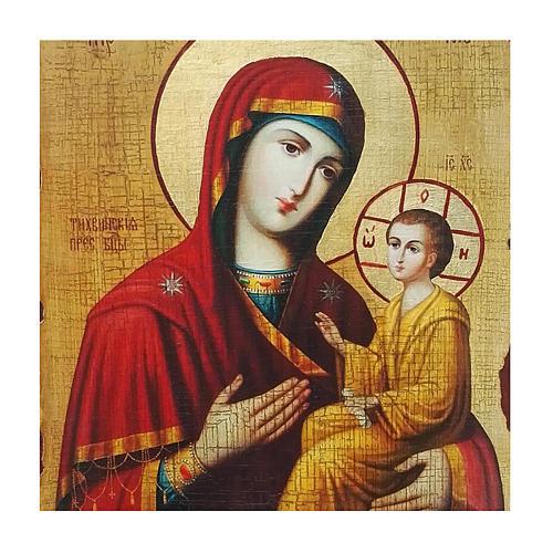 Icona russa dipinta découpage Madonna Tikhvinskaya 30x20 cm 2