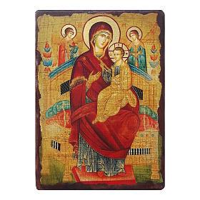 Icônes imprimées sur bois et pierre: Icône russe peinte découpage Vierge Marie Pantanassa 30x20 cm