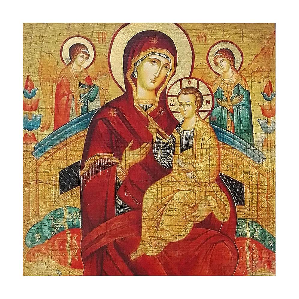 Icona russa dipinta découpage Madre di Dio Pantanassa 30x20 cm 4