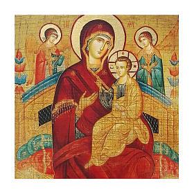 Icona russa dipinta découpage Madre di Dio Pantanassa 30x20 cm s2