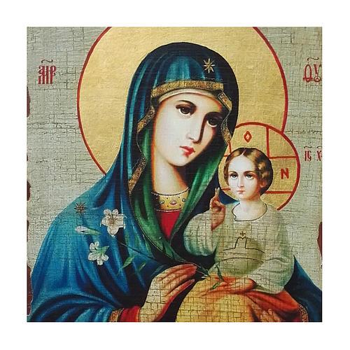 Icona Russia dipinta découpage Madonna del Giglio Bianco 30x20 cm 2