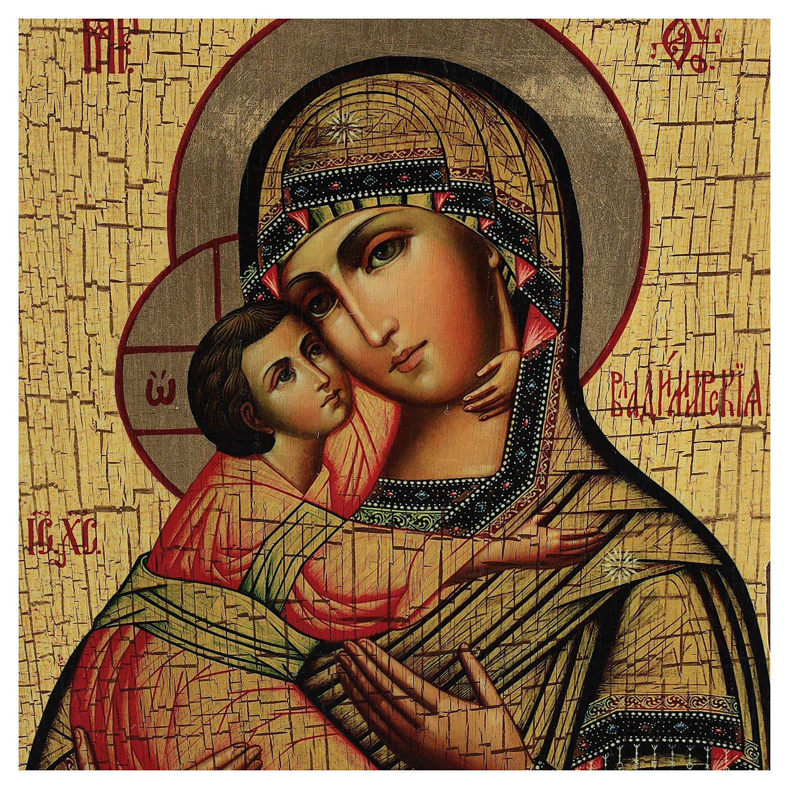 Icono ruso pintado decoupage Virgen de Vladimir 30x20 cm 4