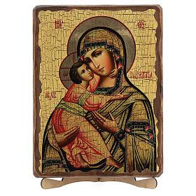 Icono ruso pintado decoupage Virgen de Vladimir 30x20 cm s5