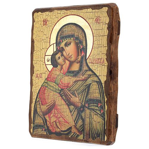 Icono ruso pintado decoupage Virgen de Vladimir 30x20 cm 3