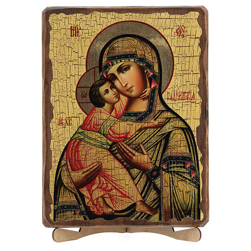 Icono ruso pintado decoupage Virgen de Vladimir 30x20 cm 5