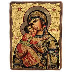 Icônes imprimées sur bois et pierre: Icône Russie peinte découpage Vierge de Vladimir 30x20 cm