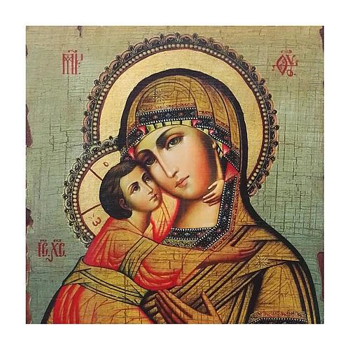 Icona russa dipinta découpage Madonna di Vladimir 30x20 cm 2