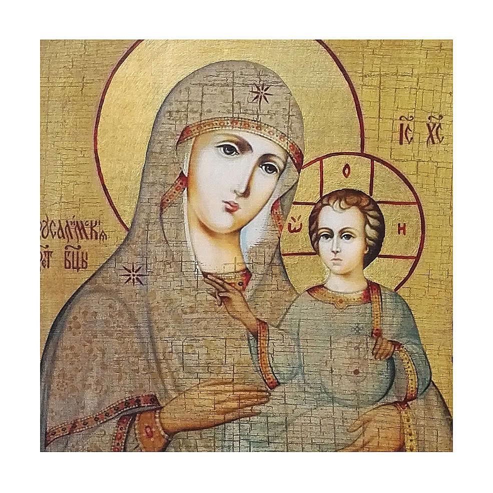 Icona Russia dipinta découpage Madonna di Gerusalemme 30x20 cm 4