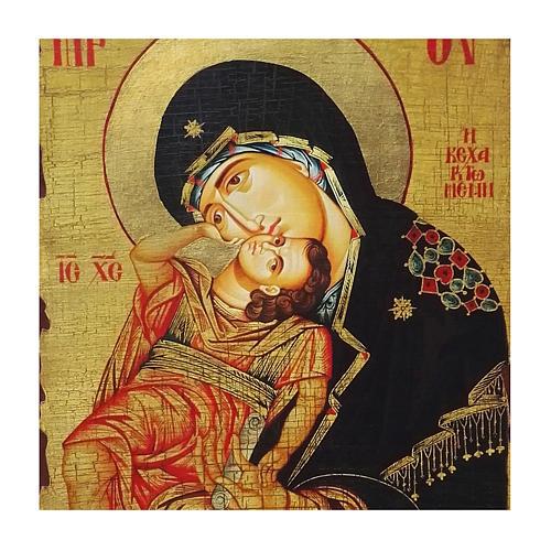 Icona russa dipinta découpage Madonna Eleousa 30x20 cm 2