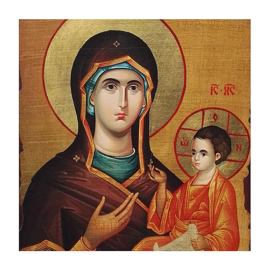 Icona russa dipinta découpage Madonna Odigitria 30x20 cm 4